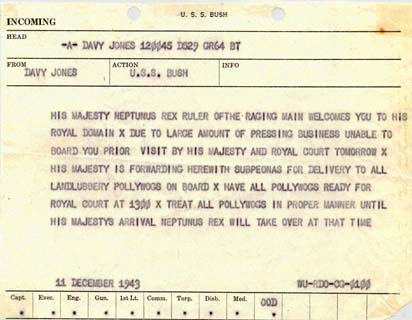 1943 Telegram From Davey Jones