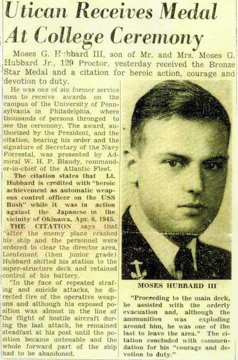 Moses Hubbard Bronze Star Press Clipping